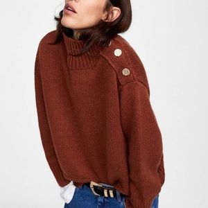 ZARA KNIT Turtleneck Sweater Small